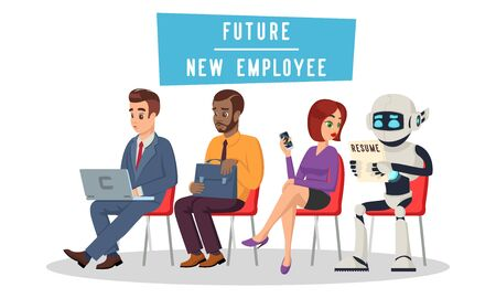 Multiracial people and robot sitting in queue and waiting for job interview. Technological revolution, unemployment in digital age concept. Artificial intelligence recruitment. Vector cartoon on white