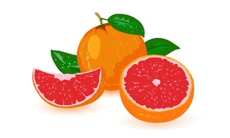 Vector picture shows whole and cut sicilian orange with red mid and green leaves on white background Ilustracja