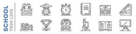 School life and supplies set of thin line icons isolated on white. Outline stationary, tools for education pictograms collection. Studying and teaching logos. Vector elements for infographic, web.