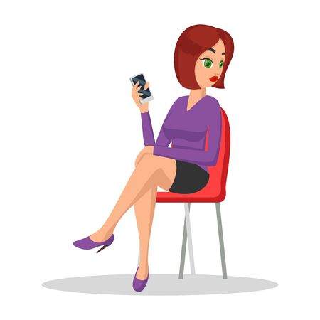 Young pretty woman sitting on chair and holding smartphone. Brunette girl in mini skirt waiting for boyfriend, girlfriend, job interview or meeting with chief to ask something. Vector cartoon on white