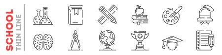 Set of thin line icons about education at school, college, university isolated on white. Outline tools for lessons pictograms collection. Learning logos. Vector elements for infographic, web. Ilustracja