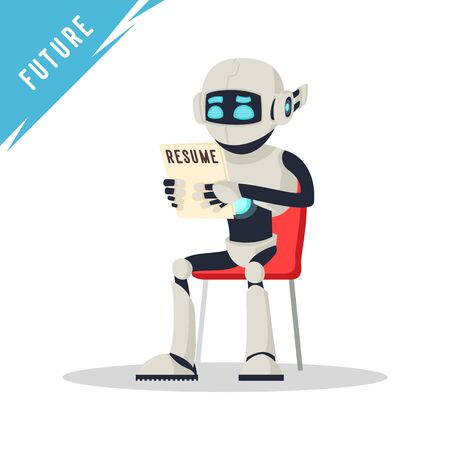 Humanoid robot sitting on chair, holding resume and waiting job interview. Modern technology and artificial intelligence in office. Android, bot recruitment. Vector cartoon isolated on white. Illustration
