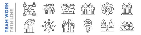 Set of thin line icons about team work isolated on white. Outline human resources management pictograms collection. Cooperation, partnership logos. Vector elements for infographic, web.