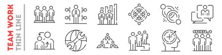 Team work and cooperation in company set of thin line icons on white. Outline communication with colleagues pictograms collection. Business relationship logos. Vector elements for infographic, web.