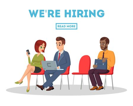 Multiracial men and women, graduated sit on chairs in queue before job interview and look to smartphone, laptop. We re hiring blue text. Free vacancy, getting employed vector concept isolated on white