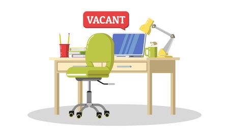 Recruiting candidates for office work. Talent, professionals wanted, we are hiring concept. Workplace for new employee with desk, chair, computer, laptop. Vector cartoon illustration isolated on white