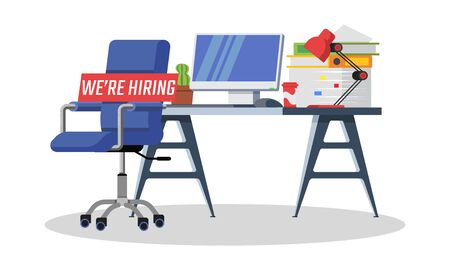 Company looking for employee, office worker, manager. Free vacancy, we are hiring concept. Workplace interior with empty chair. Vector cartoon illustration isolated on white background. Ilustracja