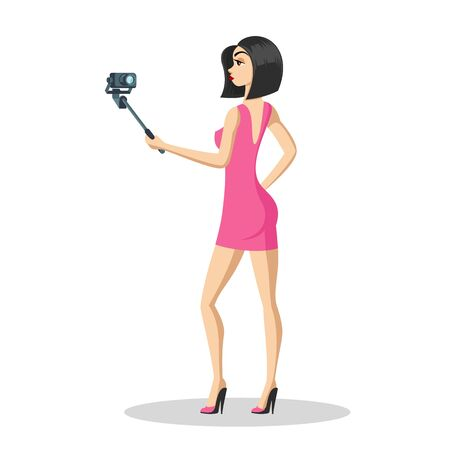 Attractive brunette girl using selfie stick and taking photo herself. Stylish heeled young woman in mini pink dress looking at camera and making video for her vlog. Vector cartoon isolated.