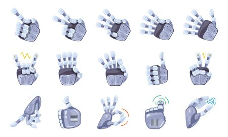 Robot hand gestures. Robotic hands. Mechanical technology machine engineering symbol. Hand gestures set. Futuristic design. Big robot arm. Signs. Vector illustration on the white background. Ilustracja