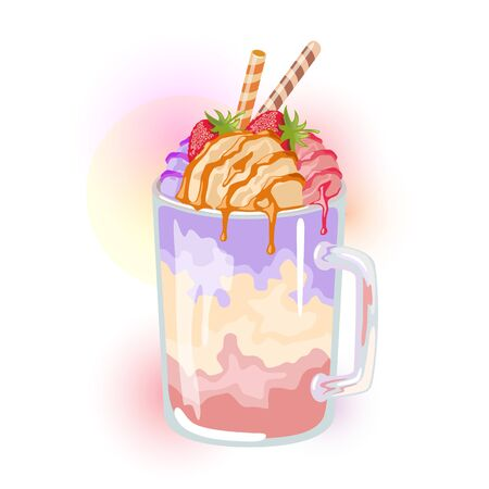 Multicolor milkshake with different flavour: hazeled, raspberry, blueberry garnished strawberry and caramel syrup on top. Fruit dessert in glass cup with straws. Sweet berry smoothie. Vector cartoon.