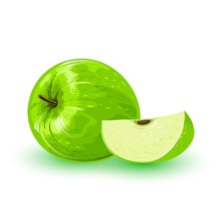 Fresh green apple and segment of it. Pomaceous fruit using for cooking jellies, jams, juice, candies, pies, cider, cakes. Cartoon vector icon isolated on white background. Healthy, vegetarian snack. Ilustracja