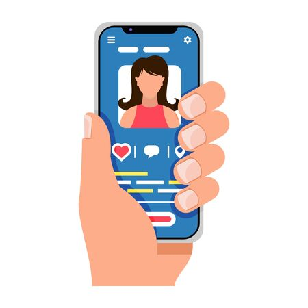 Male hand holds smartphone. Man speaks with girlfriend or sister by cellphone. Guy is going to pick up with woman for dating in social networks. E-meet, mobile applications concept. Cartoon vector.