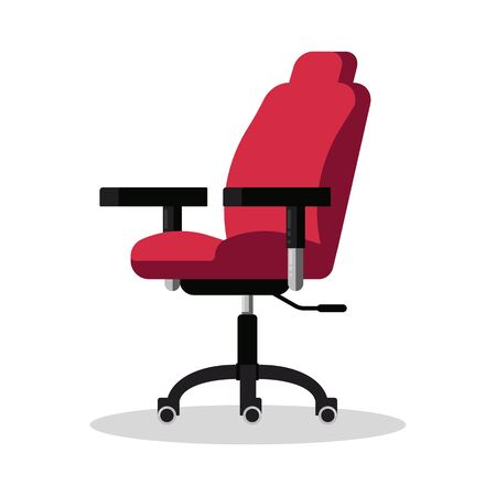 Office bright red chair with casters. Modern desk height adjustable armchair. Side view. Furniture item for workplace at company or at home. Vector flat icon isolated on white background. Ilustracja