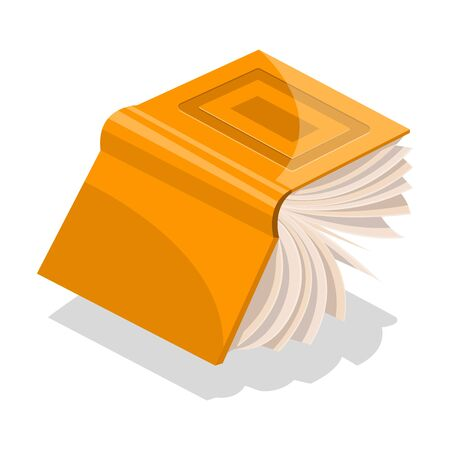 Opened orange book in hard cover with rectangles on frontispiece flying or falling down. Vector cartoon illustration for library, educational, publishing, literary, bookish projects isolated on white.