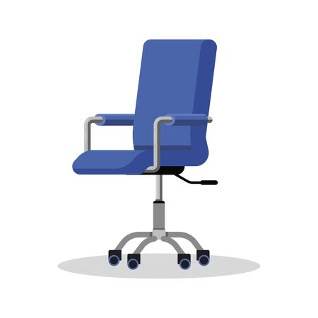 Office bright blue chair with casters. Modern desk height adjustable armchair. Side view. Furniture item for workplace at company or at home. Vector flat icon isolated on white background.