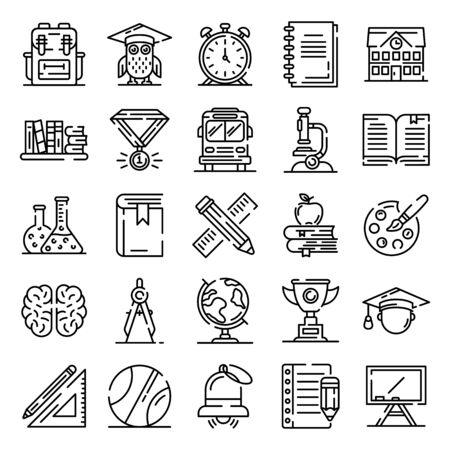 Big set of thin line icons about school, college, university life isolated on white. Outline stationary, educational tools pictograms collection. Vector elements for info graphic, web. Illusztráció