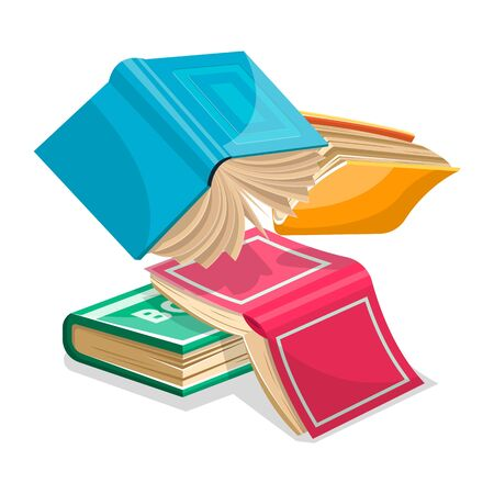 Blue, pink, green, yellow thick books falling down or flying. Unnecessary stuff in heap concept. Revising for exams at school, college, university. Vector cartoon illustration isolated on white.