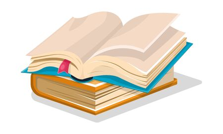 Opened blue book with empty sheets and pink bookmark is on closed blue another. Diary, sketchbook. Vector cartoon illustration for creative, educational, publishing literary projects isolated on white