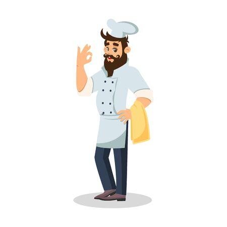 Bearded chef in cook cap keeping towel and showing ok sign. Cheerful waiter carrying meal to guests. Food server in uniform. Vector cartoon illustration isolated on white background. Illustration