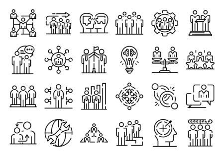 Big set of thin line icons related with human resources management isolated on white. Outline team work pictograms collection. Partnership, cooperation logos. Vector elements for infographic, web.
