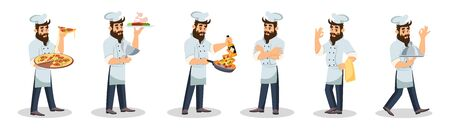Big set with bearded chef in cap and apron who cooking meal, carrying dishes to guests, offering to try delicious food, smiling and showing OK sing. Cartoon vector illustration isolated on white. Ilustracja