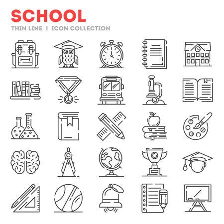 Big set of thin line icons about school, college, university life isolated on white. Outline stationary, educational tools pictograms collection. Vector elements for infographic, web. Illustration
