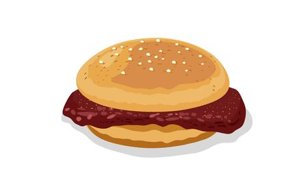 Homemade burger with beef patty, sauce topped sesame seeds. Roast meat served in toasted bun for breakfast, snack. Sandwich, sarnie. Vector cartoon icon isolated on white background. Stock Illustratie