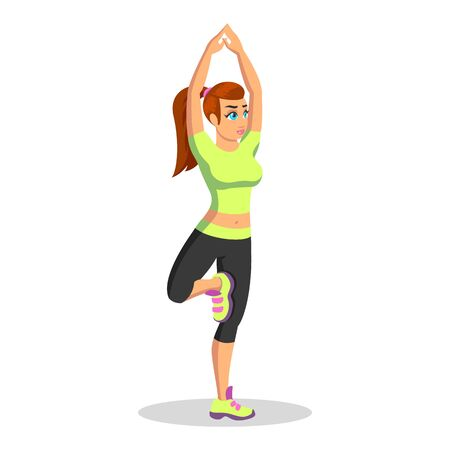 Girl in sport uniform standing in vrikshasana, doing tree pose. Young brunette woman practising hatha yoga at fitness club or at home. Vector cartoon illustration isolated on white background.