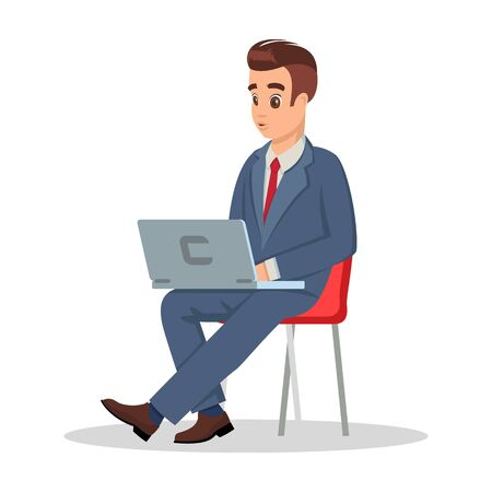 Successful businessman in formal costume sitting on chair with laptop. Handsome man looking at display during waiting meeting with boss, negotiation with new business partners. Vector cartoon on white