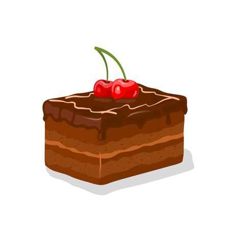 Piece of chocolate glazed layered gateau, fancy cake with buttercream garnished by cherries and whipped cream. Truffle shortcake. Cocoa patisserie. Vector cartoon illustration isolated on white.