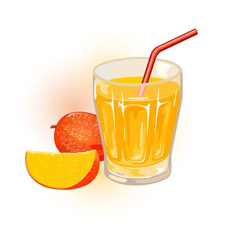 Ripe mango, whole and slice are next to glass of yellow nectar, juice with straw. Aam panna. Tropical stone fruit and sweet beverage, drink in transparent cup. Cartoon vector icon isolated on white.
