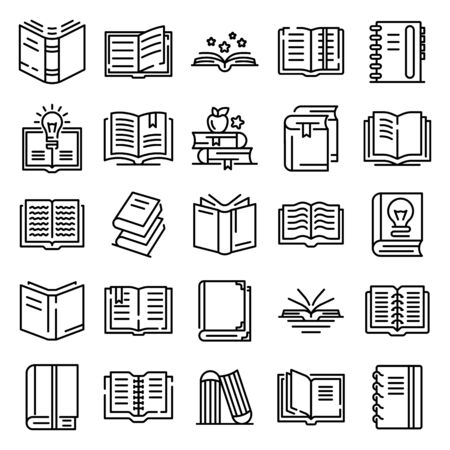 School, university books set of thin line icons on white. Outline publishing house, library pictograms collection.
