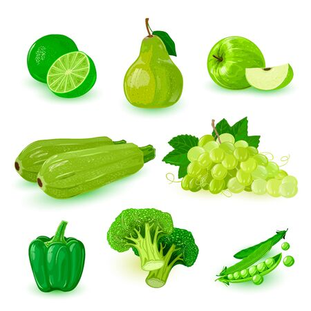 Set with green ripe fruits: apple, bunch of grapes, pear, lime, bell pepper, broccoli, peas, summer cousa squash. Sweet and sour ingredient for juice, salads, vegan kitchen. Summer healthy snacks