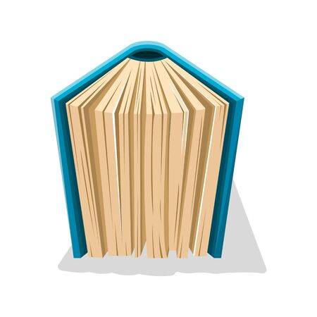 Semiopened old book in hard blue cover standing vertical. Fairy world of knowledge concept. Vector cartoon illustration for reading club, educational, publishing, bookish projects isolated on white.