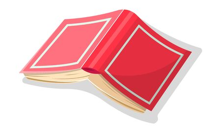 Opened inverted red thick book in hard jacket. Encyclopedia, novel, dictionary, business diary, textbook is cover up. Vector cartoon icon for literary, educational, bookish projects isolated on white.