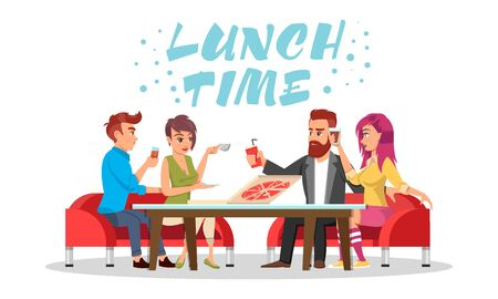 Friends or colleagues sitting at table with drinks and pizza. Vector azure lettering Lunch time isolated on white background. Young men and women spending time in cafe, dining area, food court.