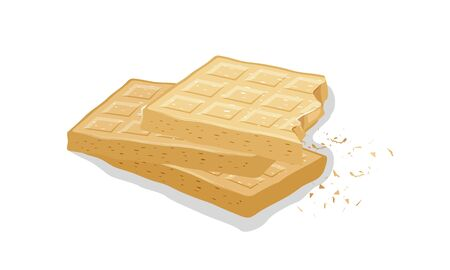 Vanilla wafers. Wheaten brussels waffles, sweet gaufres. Pastry, baking, dessert. Cartoon vector illustration isolated on white. Can be used for recipe, menu, labels for bakery, cakery, bakehouse. Stock Illustratie