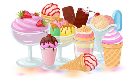 Culinary art. Big set with fruit, berry and vanilla desserts: stick ice-cream bar, wafer cones, gelato cornets, ice-block, whipped cream, sundae, parfait, frozen yogurt, sorbet. Vector icons.