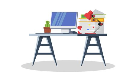 Modern desk with computer, lamp, folders, books, cup of tea or coffee, stationery. Furniture item for interior of workplace at office or at home. Vector flat detailed icon isolated on white.