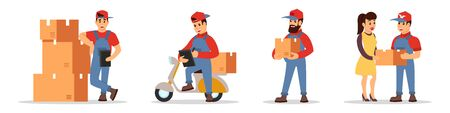 Loader standing near pile of cardboard boxes, motor scooter driver transporting parcels, courier carrying goods to client. Online delivery ordering, e-commerce concept. Cartoon vector set on white.