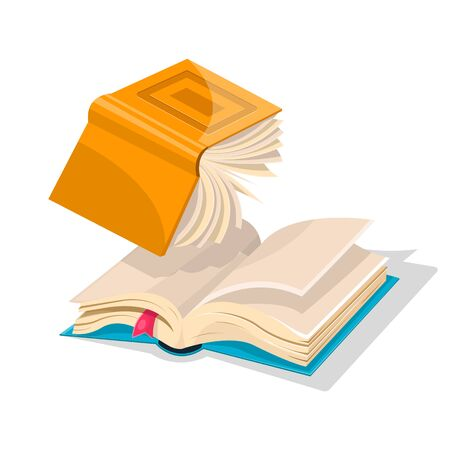 Opened inverted yellow book falling down to blue another with bookmark. Copy writing anr rewriting concept. Vector cartoon illustration for literary, educational, bookish projects isolated on white.