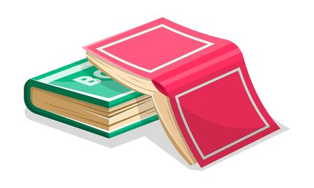 Opened inverted pink book is on closed green another. Not read to the end novel concept. Vector cartoon illustration for literary, educational, bookish projects isolated on white background. Ilustração
