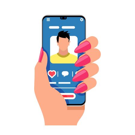 Female hand holds smartphone. Woman wants to make acquaintance with man in social networks. Girl calls to her boyfriend or brother. E-meet, mobile applications concept. Cartoon vector on white. Фото со стока - 129876001
