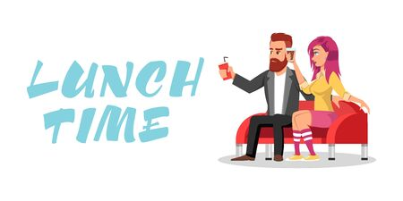 Young redheaded bearded man and girl with pink hair in knee highs sitting on sofa and drinking beverages. Colleagues or loving couple having meal period, dinner break together. Lunch time lettering. Vectores