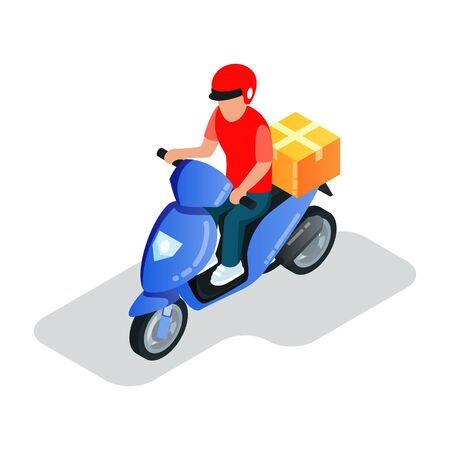 Motor scooter driver in helmet transporting parcels, courier delivering goods in cardboard box to client. Online shopping, ordering, e-commerce, e-shop concept. Isometric vector illustration on white. Stock Illustratie