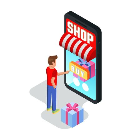 Young man making purchases through smartphone. Guy buying goods, services, ordering things, booking using devices. Online shopping, banking, e-commerce, card payment concept. Isometric vector. 일러스트