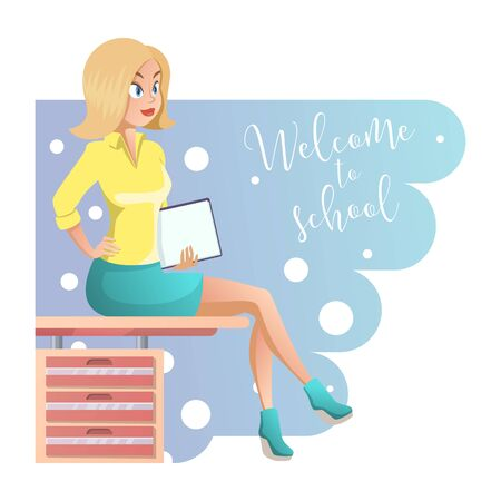 Stylish young beautiful teacher in elegant office clothes. Cute cartoon girl with documents in hand. Vector illustration on the white background, great design for any purposes. Illustration
