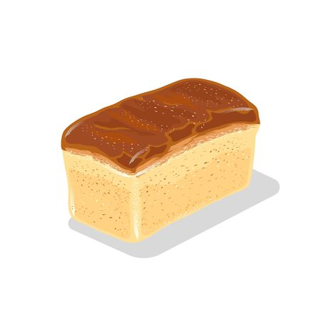 Loaf of wheaten white bread with crackling crust. Baked product from flour. Staple food. Vector cartoon icon isolated on white background for recipe, advertising, menu of bakery, cakery, bakehouse.