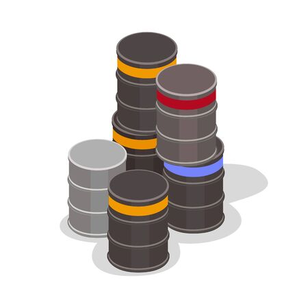 Pile of black and grey cylindrical containers or drums, barrels with bulk or liquid materials for storage and transportation. Logistic, delivery, warehousing concept. Vector isometric illustration. Иллюстрация