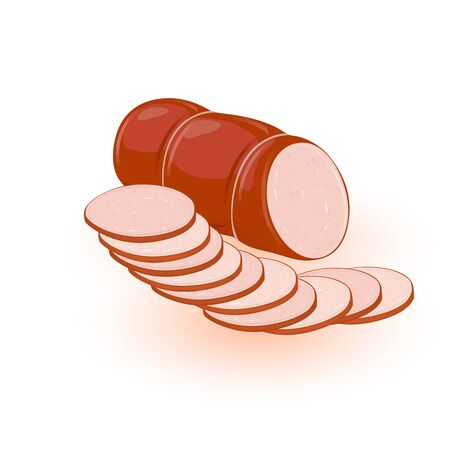 Boiled or smoked fat sausage, mortadella, kielbasa cutted to slices. Farm product from ground meat of pork, beef, chicken, veal. Vector cartoon illustration isolated on white for butchery label design Ilustracja